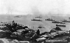 La flotte de Spee à Valparaiso.