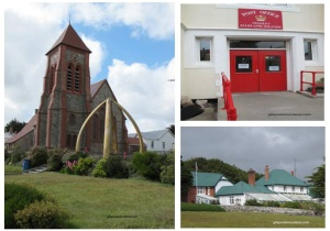 Port Stanley, cathédrale, poste et maison du Gouverneur.