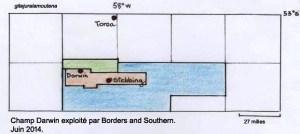 Les Falkland, champs d'exploitation Darwin par Borders et Southern en juin 2014.