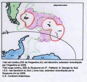 Atlantique Sud, domaines attribués et revendiqués depuis 2009.