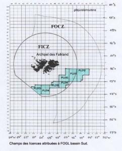 Les Falkland, licences Sud attribuées à FOGL.