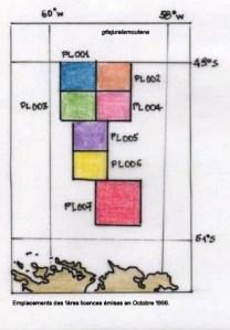 Zones des licences Oct 1996, bassin Nord Falkland.