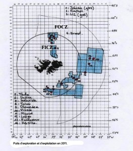 Les Falkland, emplacements des puits d'exploitation en 2011