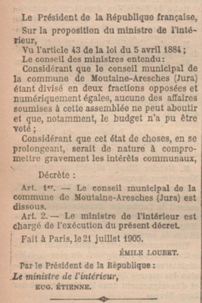 Décret 21 Juillet 1905.