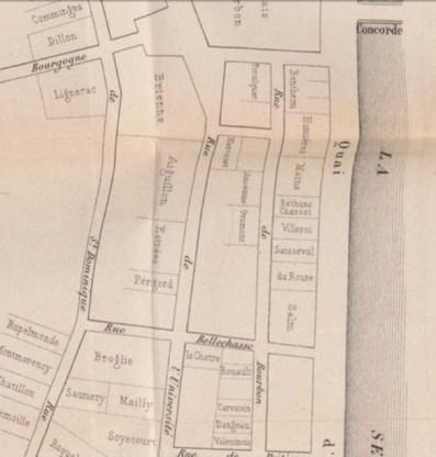 Rue Bourbon hôtel Bethune-Charost avant 1789.