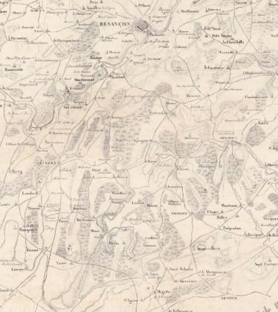 Carte Besançon-Mouchard J.E Woerl 1826