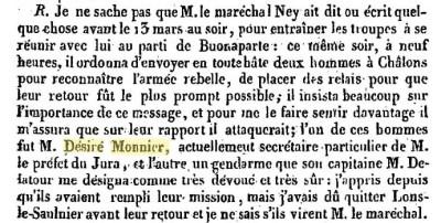 Déposition du préfet Vaulchier de Deschaux au procès de Ney.