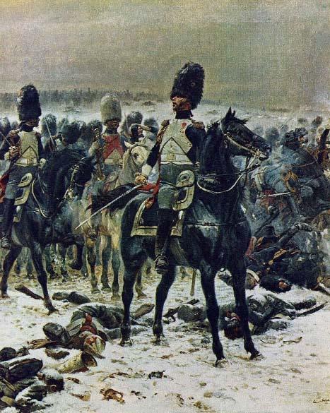 Grenadier à cheval de la Garde Impériale, colonel Lepic, bataille d'Eylau, E.Detaille, Musée Condé Chantilly.