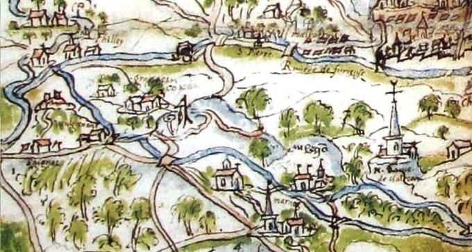 Détail de la carte du ressort de Salins, gibet et roue de sentences au Mont de Simon, L'espace comtois par la cartographie du XVIe au XVIIIe siècle, association des Amis des Archives du Doubs et de Franche-Comté, 1995.