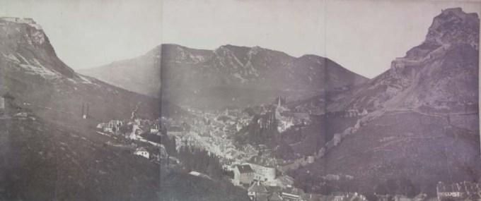 Vue de Salins du Sud vers le Nord avec ses remparts, prises de vues photographiques de 1905 ?, fonds anciens de Salins.