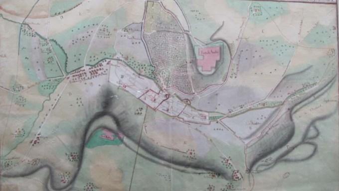 Détail du plan figuratif de l'étendue des quatre circonscriptions paroissiales de Salins, XVIIIe siècle.