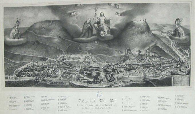 Gravure, Salins en 1628 d'après le tableau original de N.Richard, placé au musée de l'Hôtel-de-Ville en 1851, bibliothèque ancienne de Salins les Bains.