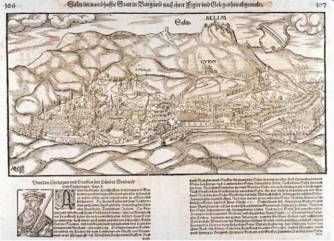 « Salin, la célèbre ville en Bourgogne… » tiré de la cosmographie universelle de Sébastien Munster.