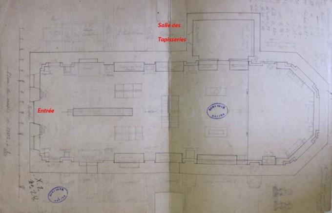 Salins, plan du musée en 1902, salle des tapisseries, ACS série R 1662.