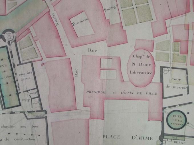 Détail plan manuscrit de Salins en 1754, Chapelle ND Libératrice, bibliothèque ancienne Salins.