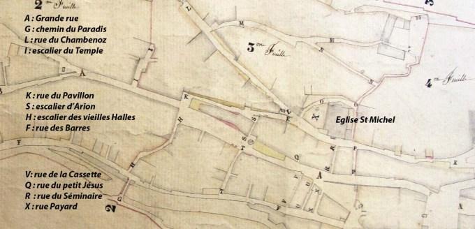 Détail plan de Salins, géomètre Louis Bournier, 12 Mai 1823, ACS 1446.