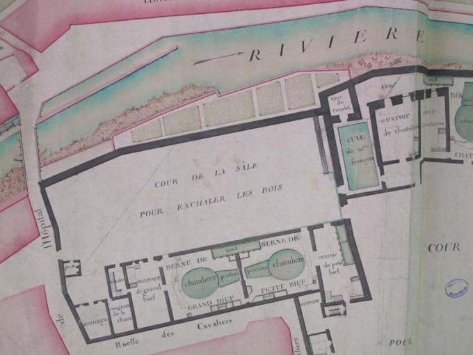 Détail plan manuscrit de la Grande Saline de Salins, 1754, tour de Reculot, bibliothèque ancienne de Salins.