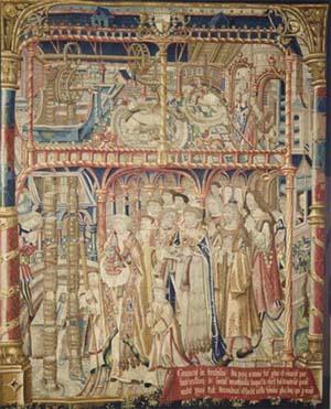 Tenture de St Anatoile de Salins, le miracle de l'eau, 1502-1506, musée du Louvre.
